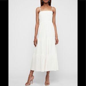 Express Textured Tiered Tie Shoulder Maxi Dress